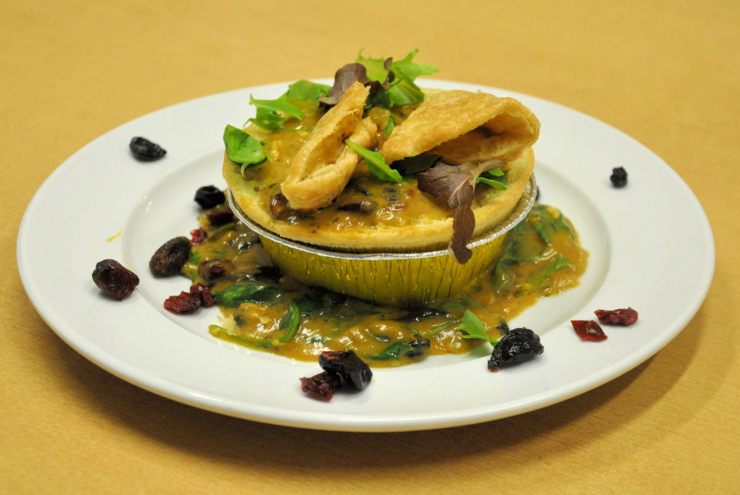 Aztec Curried Prawn Pie on a Bed of Curry-Wilted Lettuce