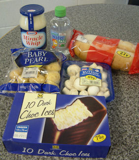 Ingredients used in Choc Ice and Potato Salad Surprise