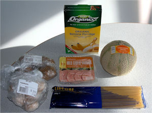 Ingredients used in Melo-Banana Compote with Savoury Vegetable Parcels
