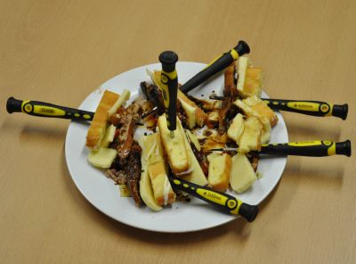 Screwdrivers used as skewers